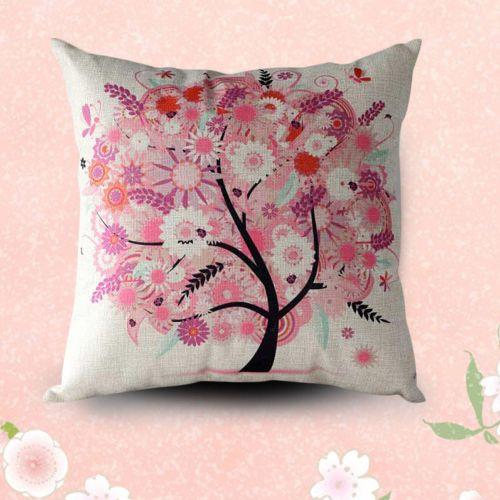 PillowsFlower Tree Pillow Case Sofa Waist Throw Cushion Cover Home Decor PK-As Shown