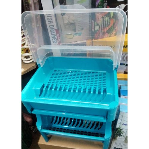 2 Layers Plastic Plate Rack With Cover