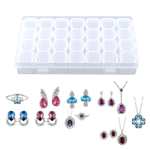 Clear Plastic 28 Slots Adjustable Tablet Medicine Pill Jewelry Storage Organizer Box Container