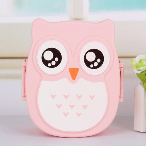 Cute Cartoon Owl Lunch Box Food Container Storage Box Portable Bento Box Spoon(pink)