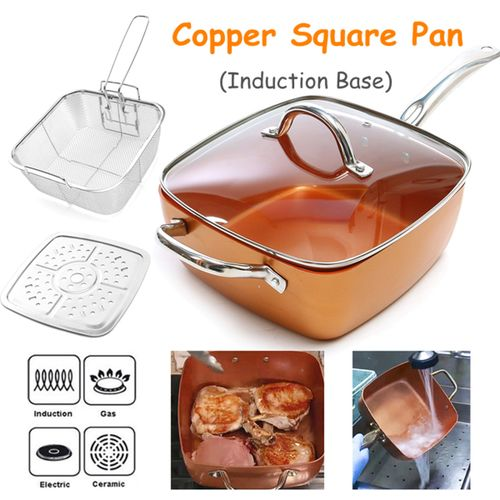 Stainless Steel Copper Deep Square 9.7 Non Stick Frying Pan 4 Piece Set