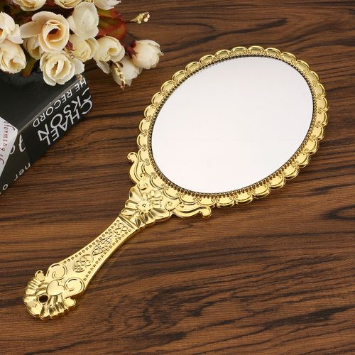 Portable Vintage Makeup Makeup Mirror Hand Hold Oval Round Cosmetic Mirror Noble Restore Ancient Ways Court Mirrors Beauty Tool
