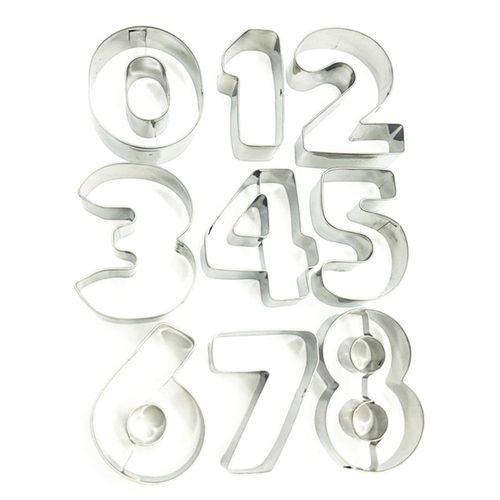 9Pcs\Set Stainless Steel Number Shaped Cookie Cutter Fondant Cutter Festive Diy Cake Mold