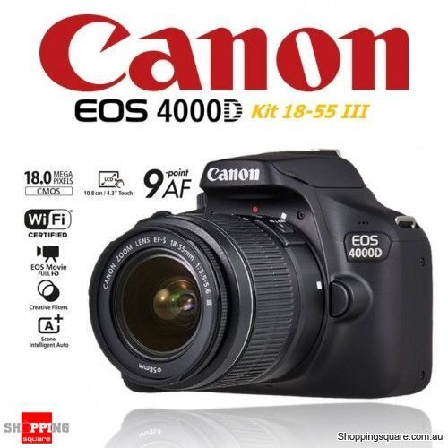 Eos 4000d 18MP APS-C CMOS Camera With EF-S 18 - 55mm Lens