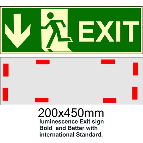Photoluminescent EXIT Sign With Arrow Down