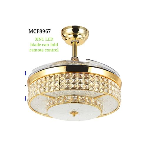 42inchs Fan 3 In 1 Crystal LED Chandelier With Retractable Modern Invisible Quiet Folding Blade.
