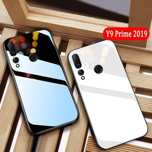 For Huawei Y9 Prime Casing Tempered Glass Protector Case Shiny Glass Back Phone Cover Soft Silicone Frame
