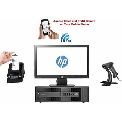 MONITOR + Desktop Computer + Receipt Printer + Barcode Scanner + POS Software + Mobile Report Alert