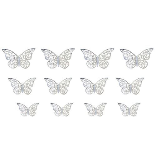 Texture 3D Hollowed Out Simulation Erfly Decorative Wall Stickers Silver