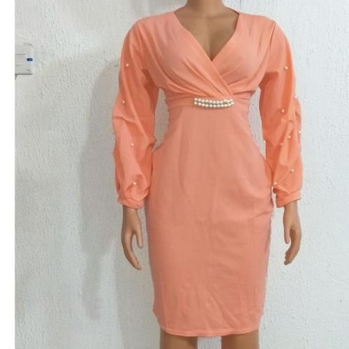 Sweet Sexy Women Ladies Dress With Beads- Peach
