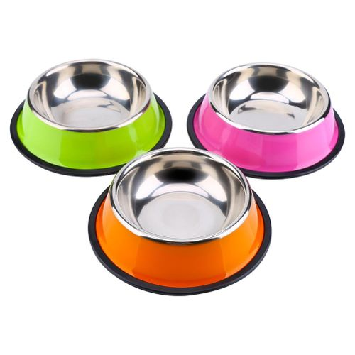Pets Dog Cat Puppy Anti Skid Stainless Steel Feeding Food Water Bowl Dish