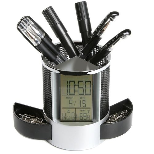 Loskii DX-111 Black Digital LED Desk Alarm Clock Mesh Pen Pencil Holder Calendar Timer Temperature