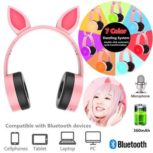 7 Colors LED Bluetooth Cat Ear Headset Headphones On-Ear Stereo Gaming Earphone