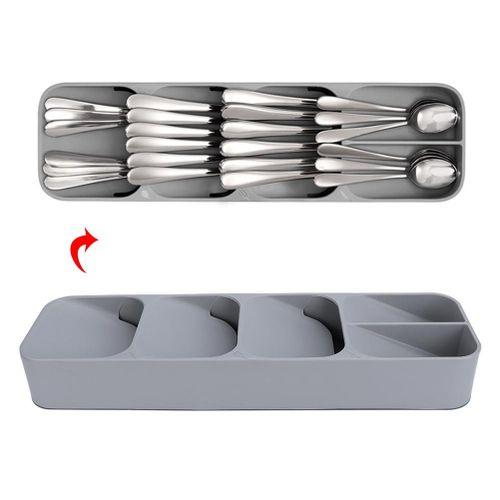 Kitchen Drawer Organizer Tray Cutlery Knife Spoon Separation Organizing Storage Box Grey