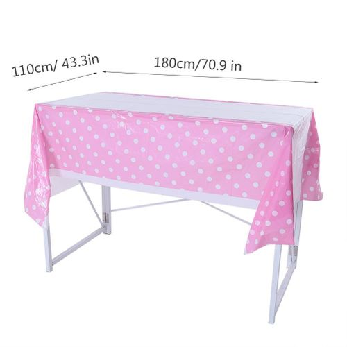 Disposable PVC Tablecloth With Dot Pattern Rectangle Table Cover Home Party Decor Dining Room Party Outdoor Camping Supplies