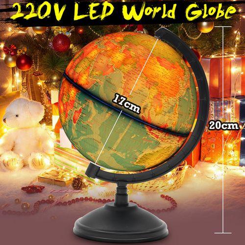 LED Light Desktop W/ Rotating World Earth Globe Geography Education Map Home Gif