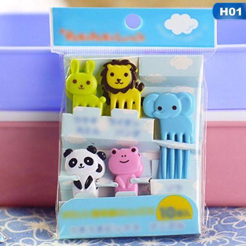 10pcs Eleganya Lovely Cartoon Animal Modeling Children Practical Fruit Fork