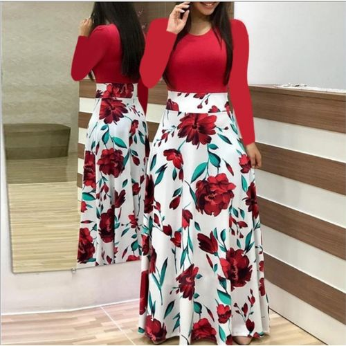 Women's Floral Print Long Sleeve Dress - Red / White