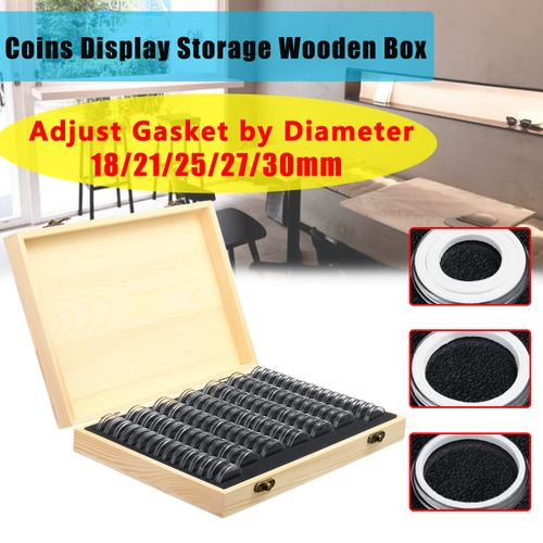 Wooden Collectible Coins Display Storage Box Case +100 Grids Round Slab Capsule