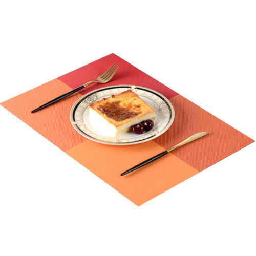 Set Of 4 Colorful Checker Vinyl Placemats Water-proof,Orange