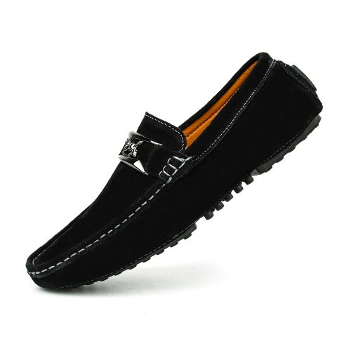 Men Suede Loafers Moccasins Driving Shoes - Black