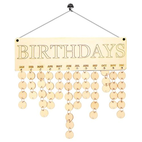 Wooden Birthday Calendar Family Friends Sign Dates Planner Board Wood Color