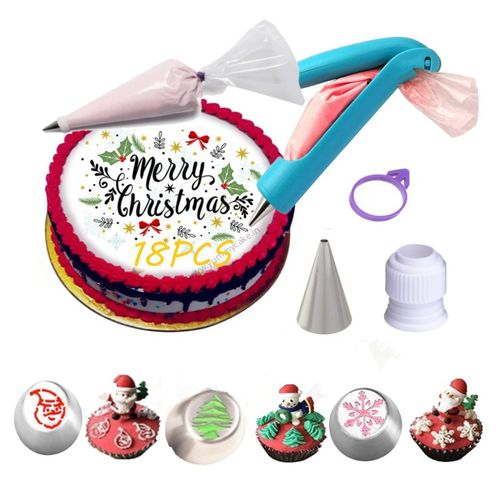 18 Pcs/set Cake Turntable Piping Tip Nozzle Pastry Bag Set