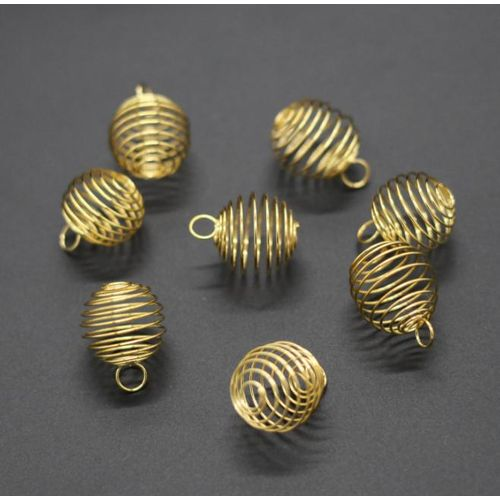 Benhongszy Wholesale 10PCS Gold Sliver Spiral Bead Cages Pendants Findings Jewelry Making