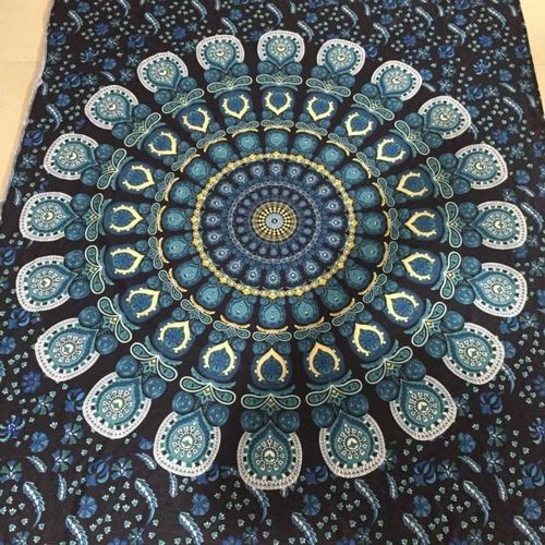 Muliawu Store Bohemian Rectangle Hippie Tapestry Beach Throw Roundie Towel Yoga Mat M-Blue
