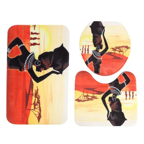 3pcs/Set African Women Printing Shower Curtain Rug Lid Toilet Cover Mat Non-Slip Bath Mat