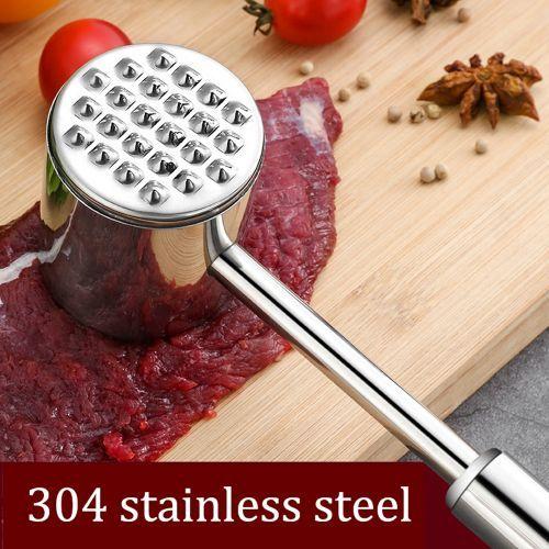 Meat Tenderizer Mallet Hammer Pounder-Stainless Steel Silver