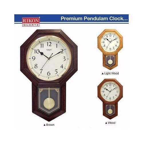 Rikon Wooden Finished Plastic Pendulum Wall Clock