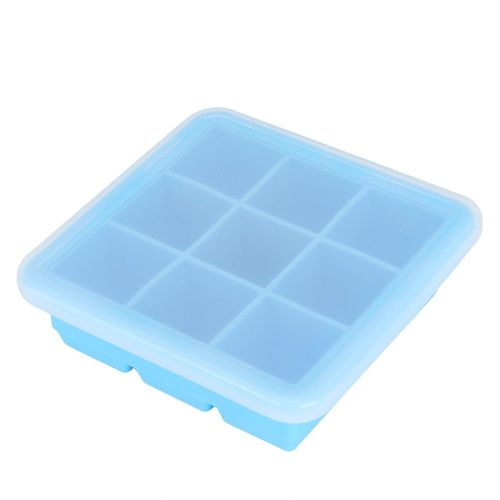 Fdit 9 Grid DIY Silicone Ice Mold Ice Box Holder Ice Chocolate Pudding Maker With Lid