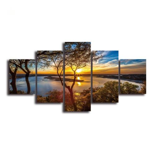 HD Landscape 5 Panel Wall Art Canvas Painting Printed Framed Pictures Home Decor