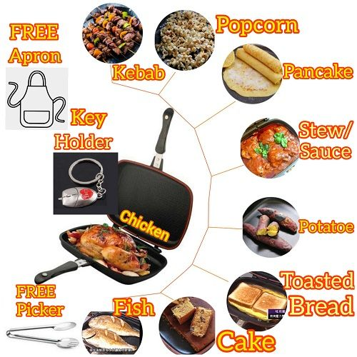 40cm Double Sided Non-Stick Grill Barbecue Stove Gas Top Frying Pan For Chicken Turkey Plantain Meat