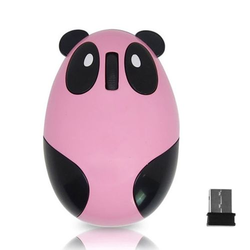 New Arrivel Portable Cartoon Panda Style Mini Rechargeable 2.4GHz Wireless Computer Optical Mouse For PC Macbook Laptop Pink
