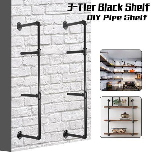 DIY 4-Tier Industrial Wall-Mounted Iron Pipe Bracket Bookshelf