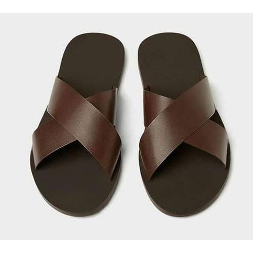 Men's Simple Cross Slippers - Brown