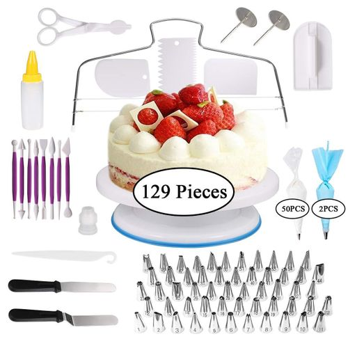 129 Pcs/set Cake Turntable Piping Tip Nozzle Pastry Bag Set