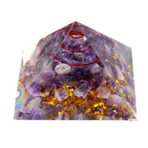 Reiki Energy Charged Large Amethyst Quarz 7 Chakra Orgone Pyramid Crystal Stone