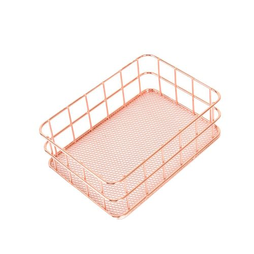 Metal Storage Basket Mesh Crate Vintage Kitchen Office Storage Desk Organiser -Rose Gold