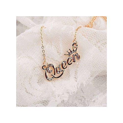 Queen Letter Pendant Necklace Gold
