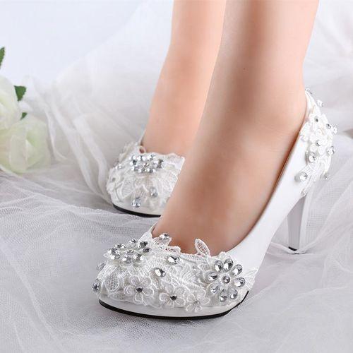Fashion NEW Women White Floral Stilettos Rhinestone