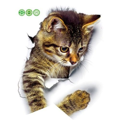 Cute Cat Can Remove 3D Stereo Wall Stickers Tv Background Multicolor