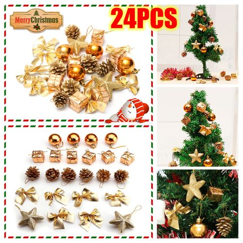 24pcs Gold Glitter Ball Christmas Decor Party Baubles