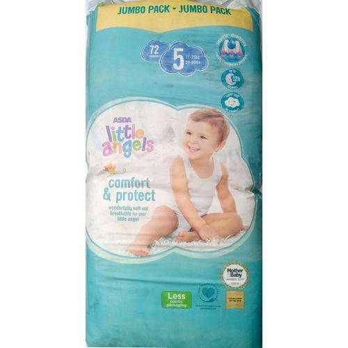 ASDA Little Angels Size 5 Diapers (Count - 72)