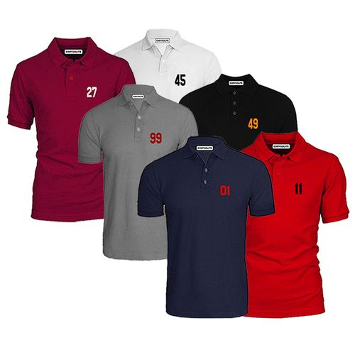 Lucky Numbers 6 IN 1 Casual Polo Bundle - Navyblue, Black, White, Grey, Wine, Red.