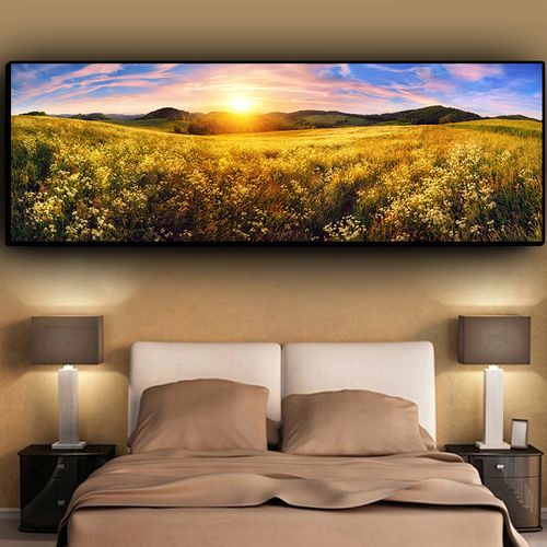 Nature Flower Mountain Sunset Landscape Cuadros Canvas Painting Posters And Prints