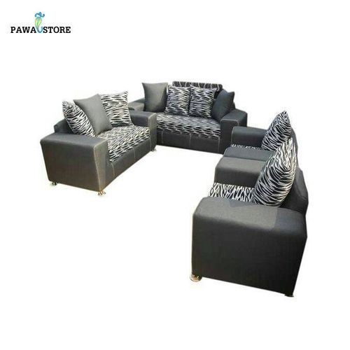 Zebra Striped 7 Seater Sofa-Black And Ash. 'ORDER NOW AND GET A FREE OTTOMAN' (Delivery To Lagos Only)