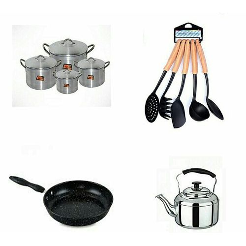 Cooking Pots, Frying Pan, Whistling Kettle & Non Stick Spoons Set